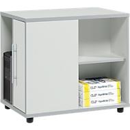 Anstellcontainer Moxxo IQ, PC-Towerfach, 1 Tür, 2 seitliche Fächer, B 551 x T 800 x H 720 mm, lichtgrau