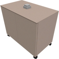Anstellcontainer SOLUS PLAY, fahrbar, 2 Flügeltüren, B 800 x T 500 x H 720 - 1080 mm, Stone grey