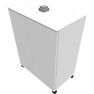 Anstellcontainer SOLUS PLAY, fahrbar, 2 Flügeltüren, B 800 x T 500 x H 720 - 1080 mm, weiß