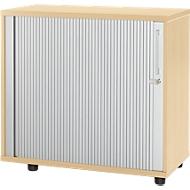 Anstellquerrollladenschrank, aus Holz, 2 Fachböden, B 800 mm x T 421 x H 750 mm, Ahorn