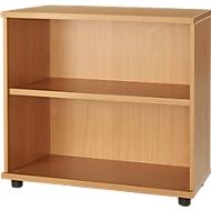 Anstellregal, aus Holz, 2 Fachböden, B 800 mm x T 421 x H 750 mm, Buche