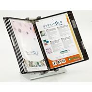 Antibacterieel display board systeem Tarifold Sterifold, tafelstandaard met 10 borden in A4 formaat, uitbreidbaar, zwart