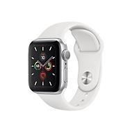 Apple Watch Series 5 (GPS) - Aluminium, Silber - intelligente Uhr mit Sportband - weiß - 32 GB