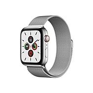 Apple Watch Series 5 (GPS + Cellular) - Edelstahl - intelligente Uhr mit Milanaise Armband - Silber - 32 GB - nicht angegeben