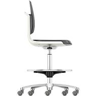 Arbeitsdrehstuhl Labsit hoch, Integralschaum, Sitz-Stopp-Rollen, B 450 x T 420 x H 560 - 810 mm, weiß