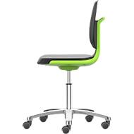 Arbeitsdrehstuhl Labsit, Integralschaum, Rollen, B 450 x T 420 x H 450 - 650 mm, grün