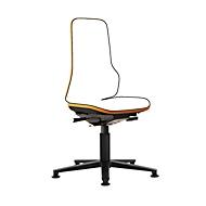 Arbeitsstuhl bimos NEON, Permanentkontakt, Grundmodell ohne Polsterelement, mit Gleitern, Flexband orange