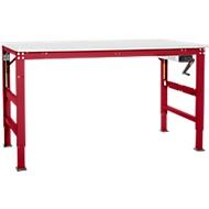 Arbeitstisch Ergo K, m. Kurbel,  1000 x 800 mm, Tischplatte Melamin, rubinrot