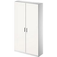 Archief-/garderobekast TETRIS SOLID, b 1200 mm, 5 ordnerhoogten, afsluitbaar, wit/blank aluminium
