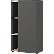 Archiefkast Austin, 3 OH, 3 OH, B 620 x D 420 x H 1150 mm, 2 vaste legplanken, 3 open vakken, grafiet/eik, 2 vaste vakken, grafiet/eik