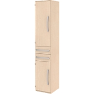 Archiefkast BARI, 6 ordnerhoogten, 3 legborden, 2 schuifladen, deuraanslag links, B 427 x D 430 x H 2174 mm, ahoorn/ahoorn/aluminium