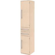 Archiefkast BARI, 6 ordnerhoogten, 3 legborden, 2 schuifladen, deuraanslag rechts, B 427 x D 430 x H 2174 mm, ahoorn/ahoorn/aluminium