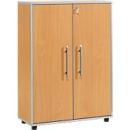 Archiefkast Moxxo IQ, hout, 2 legborden, 3 ordnerhoogten, B 801 x D 362 x H 1115 mm, afsluitbaar, beukenpatroon