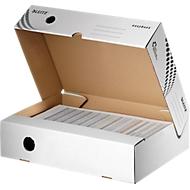 Archivboxen Leitz® Easyboxx 80, DIN A4, Aufbau-Automatik, Deckel, Griffloch Beschriftungsfeld,  B 80 mm, weiß, 25 Stück