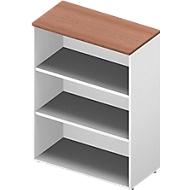 ARLON OFFICE boekenkast, 3 OH, 2 verstelbare legborden, B 900 x D 450 x H 1232 mm, notendecor/wit