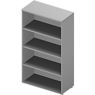 ARLON OFFICE boekenkast, 4 OH, 3 verstelbare legborden, B 900 x D 450 x H 1600 mm, lichtgrijs/aluminium