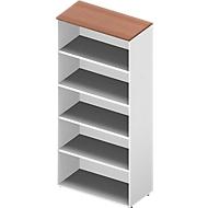 ARLON OFFICE boekenkast, 5 OH, 3 verstelbare legborden, B 900 x D 450 x H 2000 mm, notendecor/wit