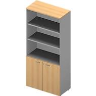 ARLON OFFICE combi-boekenkast, 5 OH, B 900 x D 450 x H 2000 mm, beukendecor/alu