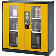 Arm. sécurité chimique. Portes vitrées 2 étag. H 1105 mm, jaune