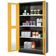 Arm. sécurité chimique. Portes vitrées 3 étag. H 1950 mm, jaune