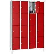 Armoire à casiers pour objets de valeur 300 mm, 4 compartiments, 16 casiers, serrure à cylindre de sécurité, pied, rouge feu