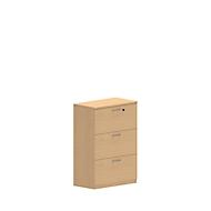 Armoire à dossiers suspendus NEVADA, 3 HC, l. 800 x P 420 x H 1160 mm, décor hêtre