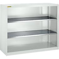 Armoire à étagères, avec 2 tablettes intermédiaires, l. 1345 mm, gris clair