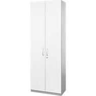 Armoire à portes battantes TETRIS SOLID, corps en acier, 5 HC, l. 800mm, verrouillable, blanc/alu blanc