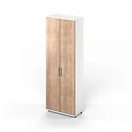 Armoire à portes battantes TETRIS WOOD, 6 HC, hauteur (patins inclus), l. 800mm, blanc/cerisier Romana