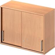 Armoire à portes coulissantes à poser TETRIS WOOD, 2 HC, l. 1000mm, hauteur (patins inclus), coloris hêtre
