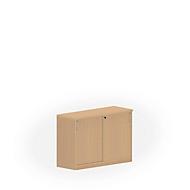 Armoire à portes coulissantes NEVADA, 2 HC, l. 1200 x P 420 x H 825 mm, décor hêtre