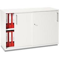 Armoire à portes coulissantes TETRIS WOOD, 2 HC, avec socle en acier,  l. 1200 x P 421 x H 800mm, blanc