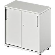 Armoire à portes coulissantes TETRIS WOOD, 2 HC, l. 800mm, hauteur (patins inclus), gris clair