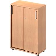 Armoire à portes coulissantes TETRIS WOOD, 3 HC, l. 800mm, hauteur (patins inclus), coloris hêtre