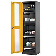 Armoire à produits chimiques à porte vitrée, 4 bacs, H 1950 mm, jaune