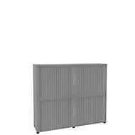 Armoire à rideau, 4 HC, en 2 parties, avec cloison médiane, l. 1800 mm, argenté