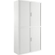 Armoire à rideau coulissant, l. 1100 x P 415 x H 2040mm, verrouillable, sans étagères, Polystyrène High Impact, blanc/blanc