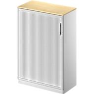 Armoire à rideau coulissant transversal TETRIS SOLID, 3 HC, l. 800mm, avec plateau de finition de 19mm, érable/alu blanc