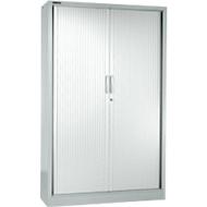 Armoire à rideau MS iCONOMY, acier, 5 hauteurs de classeur, l. 1200 x P 400 x H 1935mm, aluminium blanc RAL9006
