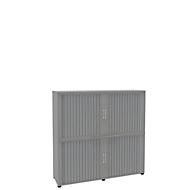 Armoire à rideaux, 4 HC, 2 pièces, avec cloison médiane, l. 1600 mm, argenté
