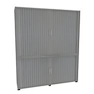 Armoire à rideaux, 5 HC, en 2 parties, avec cloison centrale, l. 1600 mm, argenté