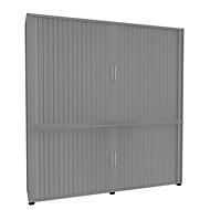 Armoire à rideaux, 5 HC, en 2 parties, avec cloison médiane, l. 1800 mm, argenté