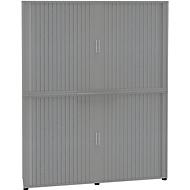 Armoire à rideaux, 6 HC, en 2 parties, avec cloison médiane, l. 1800 mm, argenté