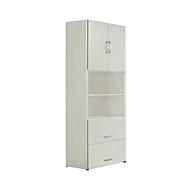 Armoire combinée PALENQUE, 6 HC, 2 portes en bois, 2 tiroirs à DS, l. 420 x P 420 x H 2160 mm, gris clair