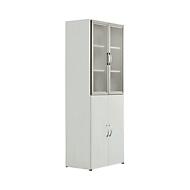 Armoire combinée PALENQUE, 6 HC, portes en bois/en verre, l. 800 x P 420 x H 2160 mm, gris clair