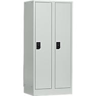 Armoire vestiaire scolaire, 2 casiers l. 300 mm, gris clair/gris clair