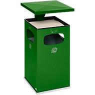 As-afvalbak B42, met kap, incl. binnenbak, groen