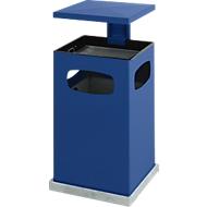 Asbak en prullenbak met afneembaar dak, 38 liter, B 395 x P 395 x H 910 mm, blauw
