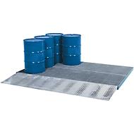 ASECOS bodemopvangbak, gegalvaniseerd staal, carterinhoud 225 l, B 2862 x D 1862 x H 78 mm, 450 kg wiellast