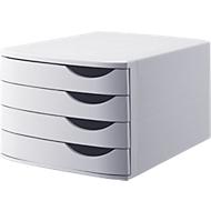 ATLANTA-ladebox, 4 laden gesloten, DIN A4, gerecycled kunststof, lichtgrijs